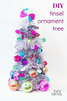 DIY Tinsel Ornament Tree Christmas Decoration