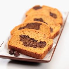 PUMPKIN CHOCOLATE QUICK BREAD Nonstick cooking spray 1 cup (6 ounces) NESTLÉ® TOLL HOUSE® Semi-Sweet Chocolate Morsels 3 cups all-purpose flour 2 teaspoons ground cinnamon 1 1/4 teaspoons salt 1 teaspoon baking soda 1 teaspoon baking powder 1 3/4 cups granulated sugar 1 can (15 ounces) LIBBY'S® 100% Pure Pumpkin 1/2 cup canola oil 4 large egg whites FULL RECIPE https://www.facebook.com/photo.php?fbid=10152856747786667&set=oa.1484448838510376&type=3&theater