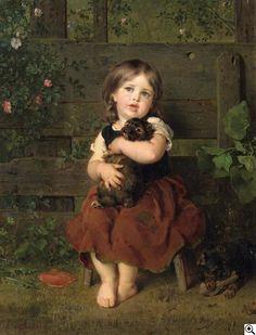 """Ludwig Knaus, 1829 Wiesbaden - 1910 Berlin, """"Mein kleiner Liebling. Bildnis eines Mädchens, einen Dackelwelpen liebkosend"""", 1865, 250. Auktion """"Alte Kunst"""" am 18. November 2006, Ergebnis: € 54.000"""