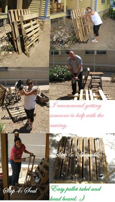 5 steps to making a recycled table and head board from old pallets.