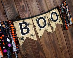 Boo Halloween banner on spider burlap with fun fabric end strips for Halloween party, mantle, classroom or photo prop