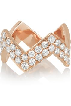 Anita Ko | Zig Zag 18-karat rose gold diamond ring | NET-A-PORTER.COM