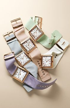 Pastel power: Anne Klein square rose gold watches