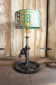 Vintage Industrial Style Table Lamp, License Plate Shade Light, Rustic Eclectic Lamp, Steampunk Lighting