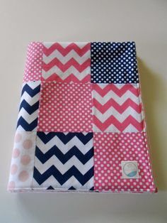 Minky Baby Patchwork Quilt Blanket Riley Blake Chevrons and Dots Navy Blue Hot Pink Ombre Dots--Made to Order on Etsy, $52.50