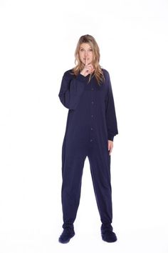 043e4e97e343 Jersey Knit Adult Footed Pajamas in Navy Blue Onesies for Men and Women