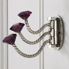 Adjustable Triple Hooks With Glass Knobs