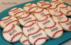 Baseball cookies - end of the year party Baseball Treats, Baseball Cookies, Baseball Mom, Baseball Desserts, Baseball Table, Baseball Anime, Travel Baseball, Baseball Videos, Baseball Girlfriend