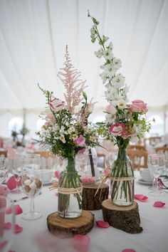 Real Weddings - In Bliss Weddings: The centerpieces by florist, Sally… Bottle Centerpieces, Bridal Shower Centerpieces, Reception Decorations, Table Decorations, Centrepieces, Milk Bottle Flowers, Wedding Colors, Wedding Flowers, Wedding Ideas