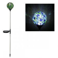 Solaris Solar Mosaic Glass Garden Stake Light - Green/Blue by Solaris. $18.45. Beautiful mosaic glass solar garden stake This unique green & blue mosaic ball combines the mesmerizing feature of a gazing globe and the functionality of a garden stake.  In addition, it utilizes solar power to charge in the daylight and illuminate at night.  Simply stake into the ground and wait for the solar panel to completely charge for the light to brighten your walkway or garden.  Features: ...