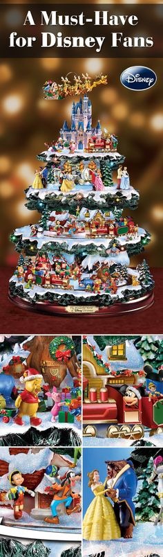 A bright start to your season begins with over 50 of your favorite Disney characters! They're all here, including Mickey Mouse, Winnie the Pooh and Snow White, in this perennial favorite tabletop tree featuring 4 tiers of lights, music and motion.