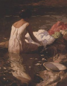 Lavandera by Fernando Amorsolo. There are only a few clean rives left, and this portrait just increases the yearning for those hum drum, but far away days.