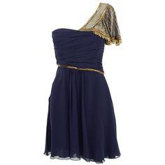 TEMPERLEY LONDON Silk beaded Corelli dress (€315) ❤ liked on Polyvore featuring dresses, vestidos, short dresses, blue, dark blue, short beaded dress, asymmetrical dress, embellished cocktail dress, mini dress and blue cocktail dresses