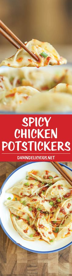 Spicy Chicken Potstickers - Make-ahead, freezer-friendly dumplings made completely from scratch with an optional hot chili oil sauce for a kick of heat! Spicy Recipes, Asian Recipes, Appetizer Recipes, Chicken Recipes, Cooking Recipes, Healthy Recipes, Wonton Appetizers, Crockpot Recipes, I Love Food