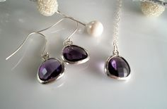 Purple Tanzanite Briolette Crystal Necklace and Earring Matching Set. $38.00, via Etsy.
