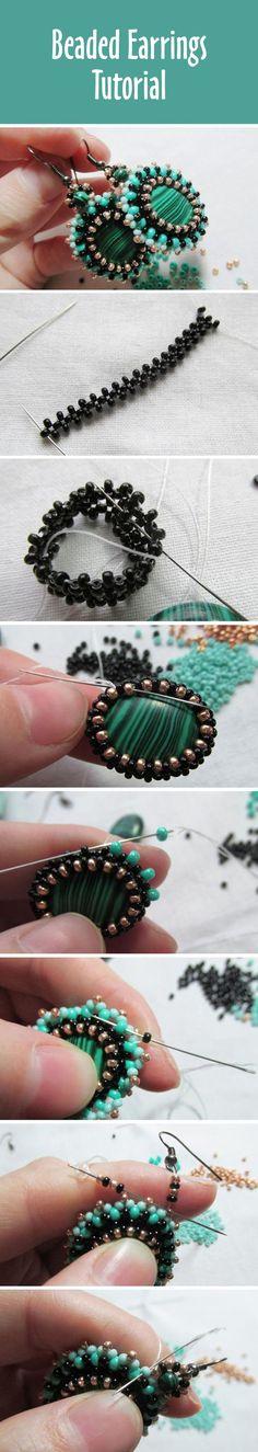 How to make beaded earrings, tutorial | Серьги из бисера своими руками. И еще раз о том, как оплести плоскую бусину