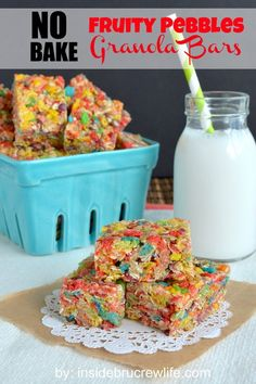 No Bake Fruity Pebbles Granola Bars from Inside BruCrew Life - no bars get a fun twist from the Fruity Pebbles cereal #granolabars #nobake
