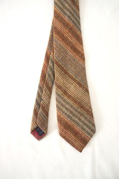 Vintage Brown Stripe Tweed Wool Necktie Viking Men, Antique Lamps, Household Items, Raisin, Dress Shirt, Tweed, Plum, Burgundy, Man Shop