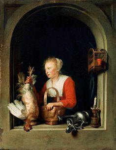 """Gerrit Dou: Jonge vrouw met dode haan. Ook wel genoemd: de Hollandse huisvrouw. 1650. Louvre, Parijs. Dit is waarschijnlijk een dienstmeid in een rijk huishouden.  De veren van de kip, de glanzende koperen mand, de zilveren koffiepot en de kandelaar, zijn schitterend weergegeven. Ook de """"huisvrouw"""" is nauwkeurig neergezet terwijl ze voorover leunt om de dode vogel aan een spijker in het raamkozijn te hangen. Het is een alledaags tafereel in een huishouden en tegelijk een zinspeling op…"""