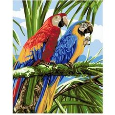Royal Paris Tapestry/Needlepoint Kit - Colourful Macaws by Atlascraft for sale online Parrot Painting, Diy Painting, Easy Paintings, Your Paintings, Art Origami, Couple Painting, Colorful Parrots, Art Du Fil, Classic Artwork