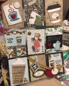 Coffee cafe Pocket Letters using new stamps and framelets from Stampin Up!