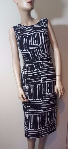 🦄 Phase Eight Size 10 Dress Black White Stretch Bodycon Shift Monochrome Midi #PhaseEight #StretchBodycon #Everyday