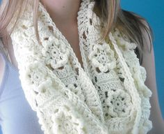 Pretty, textured floral scarf. Very similar to pattern I used for an afghan.