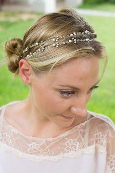 Handmade Wedding Hair Accessory With Rhinestone Crystals  #unique #head #wedding #bridal #hair #vine #crystal #piece #handmade #UpDo