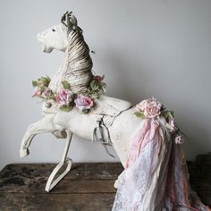 Large wooden horse carved statue painted white distressed antique farmhouse solid wood sculpture French Nordic home decor anita spero design