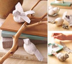 DIY (Idea only) - paper mache birds - from Do it Yourself Magazine - via http://www.papermojoblog.com/2010/10/simple-paper-projects-from-do-it-yourself-magazine/ and http://www.bhg.com/decorating/do-it-yourself/