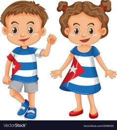 Boy and girl wearing shirt with cuba flag vector image on VectorStock Cuba Flag, Flag Vector, Happy Art, Boy Or Girl, Chibi, Vector Free, Projects To Try, Clip Art, Costumes