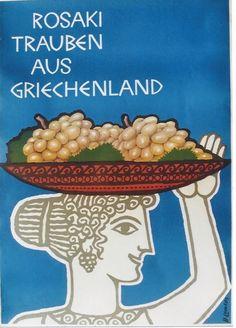 Original vintage poster ROSAKI GRAPES GREECE GODESS c.1960   eBay