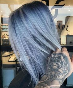Fanola No Yellow Shampoo ml) for sale online Hair Color Purple, Hair Color And Cut, Hair Dye Colors, Cool Hair Color, Pastel Blue Hair, Smokey Blue Hair, Hair Inspo, Hair Inspiration, No Yellow Shampoo