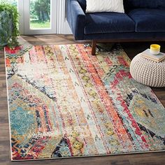 4 x 57 Orange Red Southwest Theme Area Rug Blue White Bohemian Eclectic Vintage Southwestern Shabby Chic Abstract Pattern Bedroom Living Room Color Polypropylene Synthetic