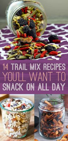 DIY 14 Super Creative Trail Mixes Recipes That Will Transform Your Snack Game rezepte selber machen mix mix bar mix bar wedding mix recipes mix recipes for kids Portable Snacks, Diy Snacks, Lunch Snacks, Healthy Snacks For Kids, Clean Eating Snacks, Healthy Breakfasts, Eating Healthy, Camping Snacks, School Snacks