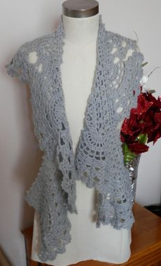 Perfect Hand Made gift. Hand Crocheted Mist Gray Mohair Lace Fan Scarf by mysticbazaar, $35.00