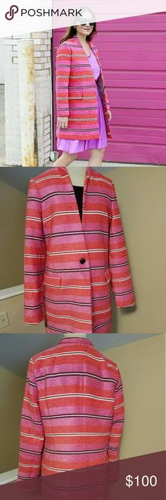 NWT Banana Republic stripped coat This brightly colored Banana Republic coat is sure to grab attention. It is stripped with different hues of pinks, orange and white. It sports two pockets and has one button. It is a long lined blazer that will come pass the hips. It is the perfect addition to add color and style to any basic outfit. Banana Republic Jackets & Coats