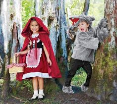 Brother and sister costume, red riding hood and big bad wolf (site does not have instructions, just photo)