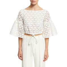 Milly Lydia Floral-Embroidered Lace Crop Top ($325) ❤ liked on Polyvore featuring tops, white, lace top, 3/4 sleeve tops, white bell sleeve top, boat neck crop top and crop top