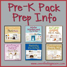 GREAT Pre-K Packs - Valentine's Day, Halloween, Thanksgiving, Winter, Nativity, Dinosaur, Autumn Gnome and Fairy