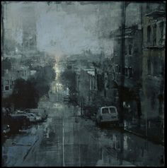 """❦ """"Nocturne #1"""" - Oil on Panel - 15 x 15 inches. - The John Pence Gallery"""
