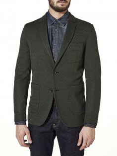 Jacket in jacquard virgin wool