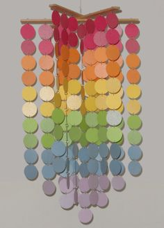 Rainbow circle mobile / chandelier in shimmering pastels by WhimsyCreationsEF on Etsy, $45.00