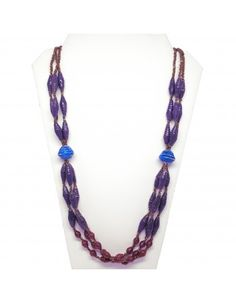 Purple Gold Olok Paper Bead Necklace - Through your purchase YOU become a vital part in the transformation and success of 200+ women in Uganda.