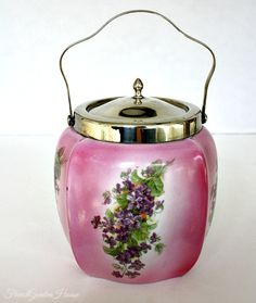 Antique Pink Biscuit Barrel Hand Painted Purple Violets Silver Mounted. FrenchGardenHouse.com