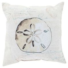 """Add a nautical touch to your living room or den with this lovely pillow, showcasing a sand dollar design in beige.  Product: PillowConstruction Material: Polyester cover and polystyrene fillColor: BeigeFeatures:  Insert includedMade in the USADimensions: 20"""" x 20"""""""