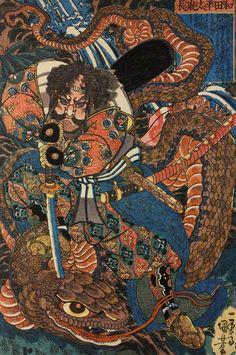 Utagawa Kuniyoshi - Wada Heita Tanenaga killing a huge python by driving his sword into the back of its head by a waterfall. Edo Period