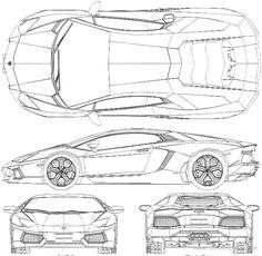 LAMBO AVENTADOR VECTOR ILLUSTRATOR on Behance  Lamborghini Aventador Drawing Side View
