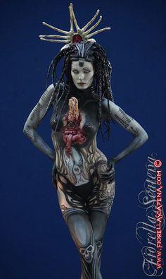 good for Halloween Human Horn, World Bodypainting Festival, Art Poses, Dark Fantasy Art, Face Art, Body Art Tattoos, Art Sketches, Art Girl, Amazing
