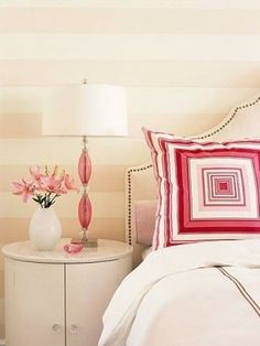 Sarah Richardson pink bedroom    I love the stripes for a baby girl nursery. Just the type of thing I'm looking for to go with my subtle colored, Victorian theme.